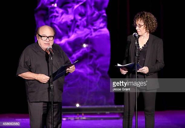 Actors Danny DeVito and Rhea Perlman speak onstage at the International Myeloma Foundation 8th Annual Comedy Celebration benefiting The Peter Boyle...