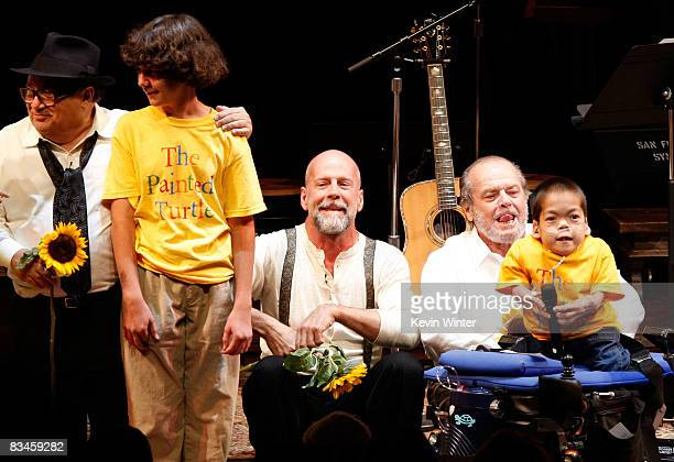 Actors Danny DeVito Bruce Willis and Jack Nicholson onstage during the reading of The World Of Nick Adams to honor Paul Newman held at Davies...