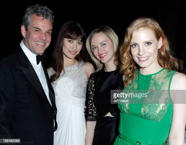 Actors Danny Huston Olga Kurylenko Jess Weixler and Jessica Chastain arrive at a tribute to Sir Charles Chaplin by Carmen and Dolores Chaplin with...