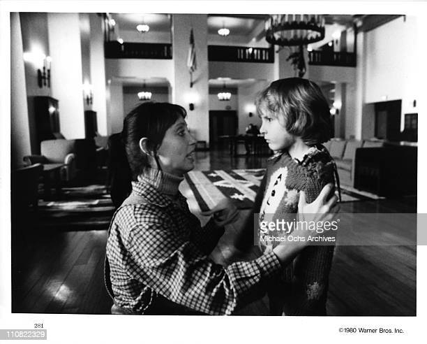 Actors Danny Lloyd and Shelley Duvall in a scene from the Warner Bros movie 'The Shining' in 1980 at Elstree Studios in Borehamwood Hertfordshire...