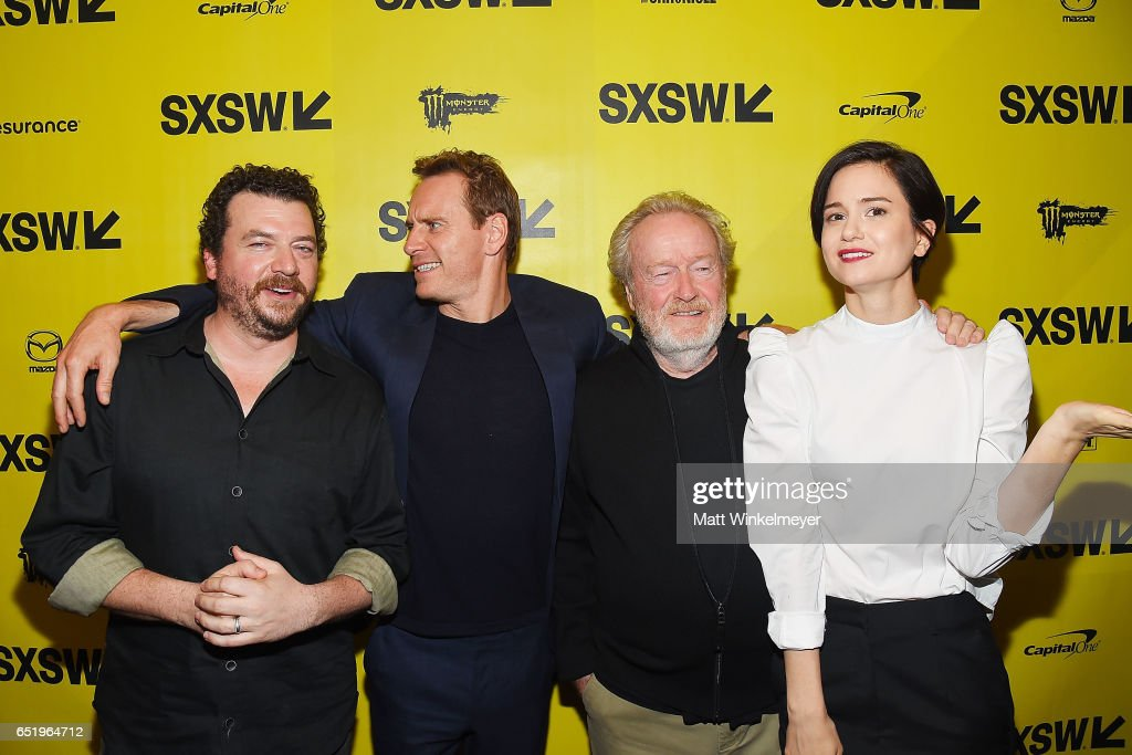 Actors Danny McBride, Michael Fassbender, director Sir Ridley Scott, and actress Katherine Waterston attend the 'Alien' premiere 2017 SXSW Conference and Festivals on March 10, 2017 in Austin, Texas.