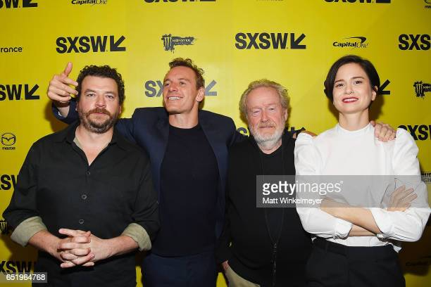 """Actors Danny McBride, Michael Fassbender, director Sir Ridley Scott, and actress Katherine Waterston attend the """"Alien"""" premiere 2017 SXSW Conference..."""