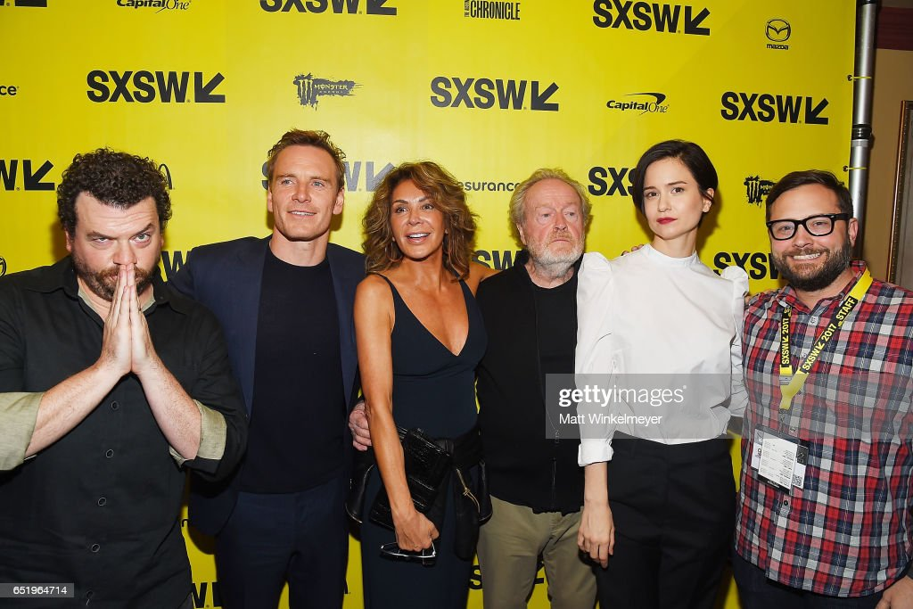 Actors Danny McBride, Michael Fassbender, Giannina Facio, director Sir Ridley Scott, actress Katherine Waterston, and Producer & Senior Programmer of SXSW Jarod Neece attend the 'Alien' premiere 2017 SXSW Conference and Festivals on March 10, 2017 in Austin, Texas.
