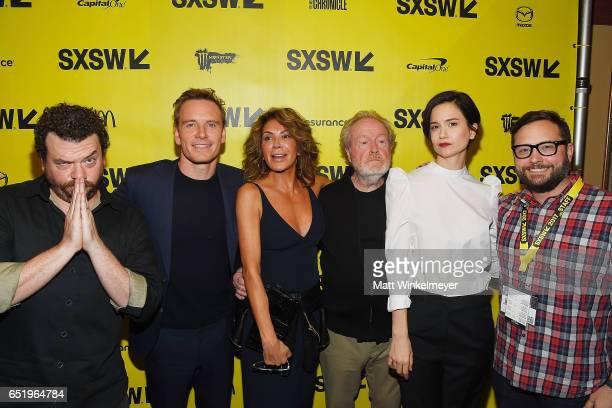 Actors Danny McBride, Michael Fassbender, Giannina Facio, director Sir Ridley Scott, actress Katherine Waterston, and Producer & Senior Programmer of...