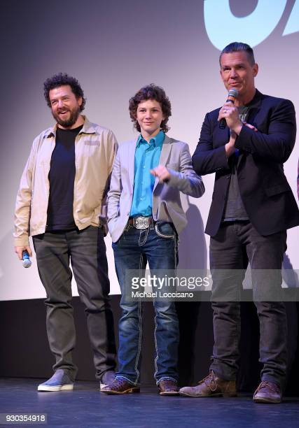 Actors Danny McBride Montana Jordan and Josh Brolin take part in a QA following the The Legacy of a Whitetail Deer Hunter premiere during the 2018...