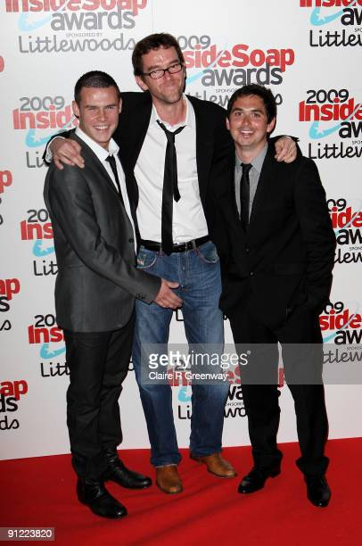 Actors Danny Miller Mark Charnock and Alex Carter pose in the media room at the Inside Soap Awards 2009 at Sketch on September 28 2009 in London...
