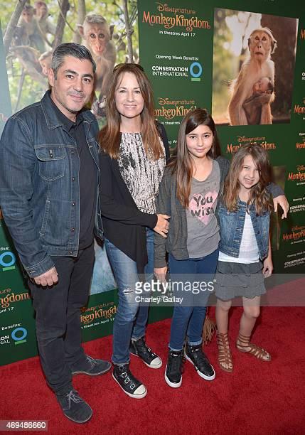 Actors Danny Nucci Paula Marshall and daughters Maya Nucci and Savannah Nucci attend the world premiere Of Disney's Monkey Kingdom at Pacific...