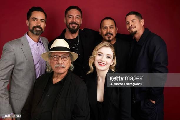 Actors Danny Pino, Edward James Olmos, Clayton Cardenas, Emilio Rivera, Sarah Bolger, and J. D. Pardo of FX's 'Mayans M.C.' pose for a portrait...