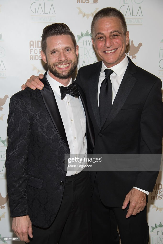 Actors Danny Pintauro (L) and Tony Danza attend the 2015 Aid For AIDS Gala at Cipriani Downtown on November 4, 2015 in New York City.