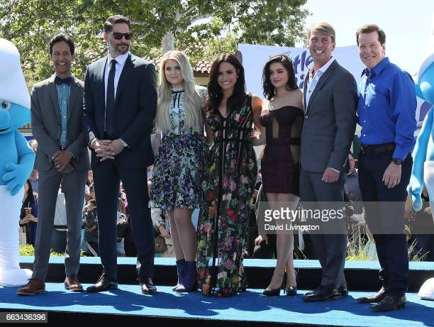 Actors Danny Pudi Joe Manganiello Meghan Trainor Demi Lovato Ariel Winter Jack McBrayer and Jeff Dunham attend the premiere of Sony Pictures' 'Smurfs...