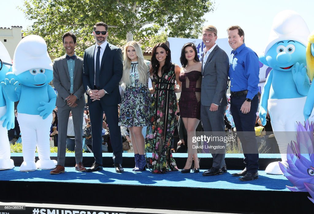 Actors Danny Pudi, Joe Manganiello, Meghan Trainor, Demi Lovato, Ariel Winter, Jack McBrayer and Jeff Dunham attend the premiere of Sony Pictures' 'Smurfs: The Lost Village' at ArcLight Cinemas on April 1, 2017 in Culver City, California.
