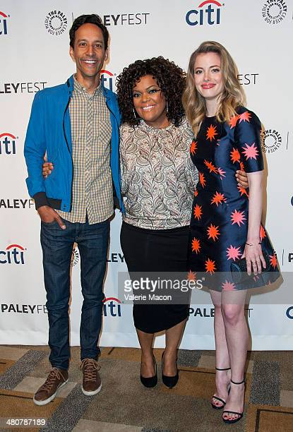 Actors Danny Pudi Yvette Nicole Brown and Gillian Jacobs attend The Paley Center For Media's PaleyFest 2014 Honoring Community at Dolby Theatre on...