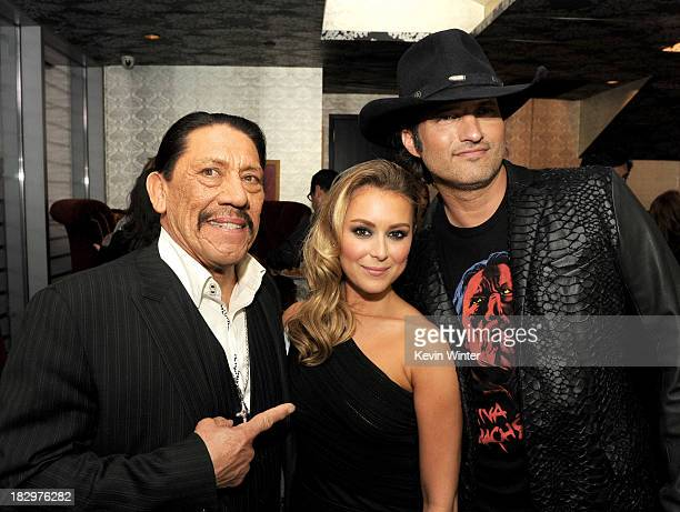 "Actors Danny Trejo, Alexa Vega and director Robert Rodriguez pose at the after party for the premiere of Open Road Films' ""Machete Kills"" at the..."
