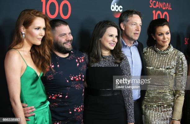 Actors Darby Stanchfield Guillermo Diaz Katie Lowes George Newbern and Bellamy Young attend ABC's 'Scandal' 100th Episode Celebration at Fig Olive on...