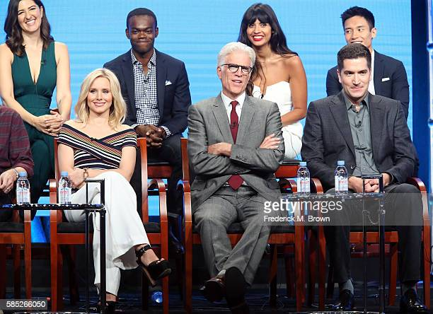 Actors D'Arcy Carden William Jackson Harper Jameela Jamil and Manny Jacinto Actors Kristen Bell and Ted Danson and executive producer Drew Goddard...