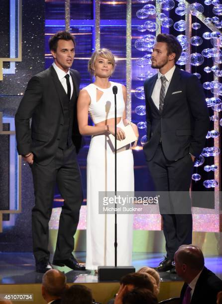Actors Darin Brooks Kim Matula and Scott Clifton speak onstage during The 41st Annual Daytime Emmy Awards at The Beverly Hilton Hotel on June 22 2014...