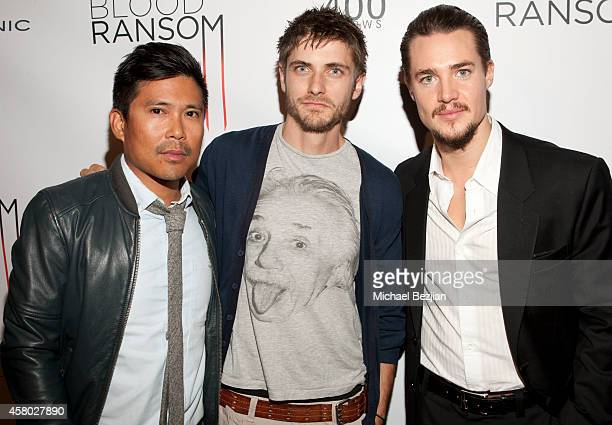 Actors Darion Basco Caleb Hunt and Alexander Dreymon attend the Los Angeles Premiere Of 'Blood Ransom' on October 28 2014 in Los Angeles California