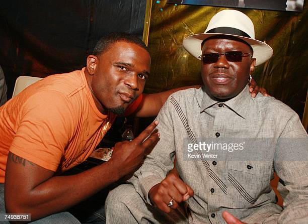 Actors Darius McCrary and Bernie Mac pose at the afterparty for premiere of Paramount Pictures' Transformers at the Village Theater on June 27 2007...
