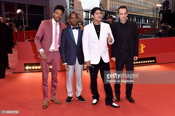 Actors Darrell BrittGibson Aml Ameen Johnny Ortiz and director Rafi Pitts attend the 'Soy Nero' premiere during the 66th Berlinale International Film...