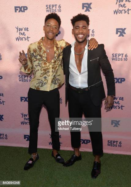 Actors Darrell BrittGibson and Brandon Mychal Smith attend the premiere of Season 4 of FXX's 'You're The Worst' at Museum of Ice Cream LA on August...