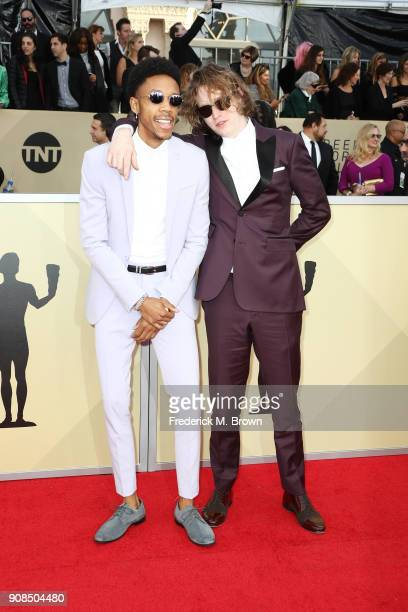 Actors Darrell BrittGibson and Caleb Landry Jones attend the 24th Annual Screen Actors Guild Awards at The Shrine Auditorium on January 21 2018 in...