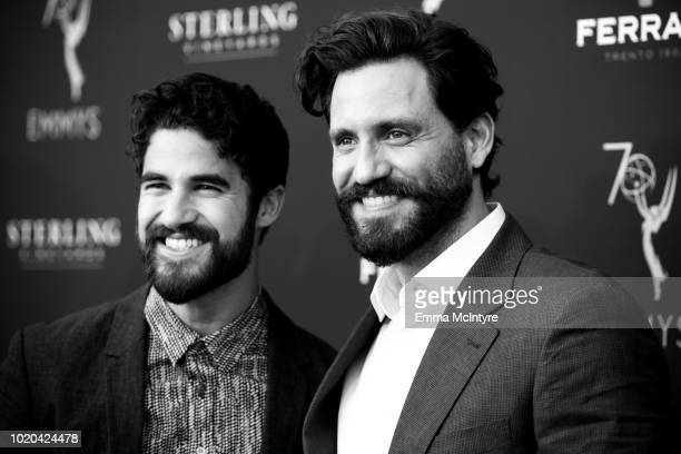 Actors Darren Criss and Edgar Ramirez attend the Television Academy's Performers Peer Group Celebration at NeueHouse Hollywood on August 20 2018 in...