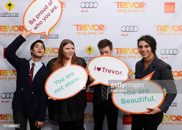 Actors Darren Criss Ashley Fink Chris Colfer and Samuel Larsen pose in the Getty Images and Wonderwallcom photo booth and green room at Trevor Live...