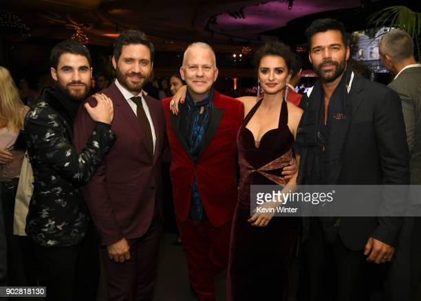 Actors Darren Criss Edgar Ramirez executive producer Ryan Murphy actors Penelope Cruz and Ricky Martin pose at the after party for the premiere of...