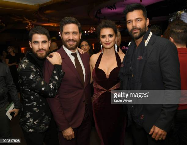 Actors Darren Criss Edgar Ramirez Penelope Cruz and Ricky Martin pose at the after party for the premiere of FX's 'The Assassination Of Gianni...