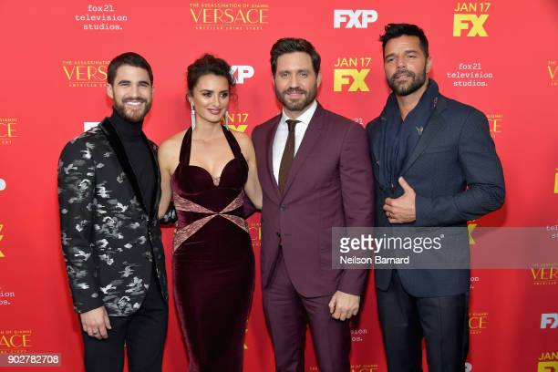 Actors Darren Criss Penelope Cruz Edgar Ramirez and Ricky Martin attend the premiere of FX's 'The Assassination Of Gianni Versace American Crime...