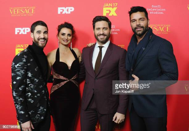 Actors Darren Criss Penelope Cruz Edgar Ramirez and Ricky Martin attend the Los Angeles Premiere 'The Assassination Of Gianni Versace American Crime...