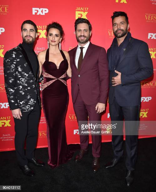 Actors Darren Criss Penelope Cruz Edgar Ramirez and Ricky Martin attend the Los Angeles Premiere of 'The Assassination of Gianni Versace American...
