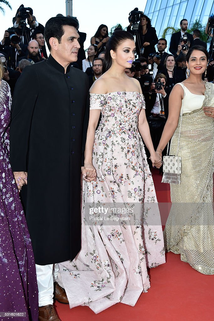 Actors Darshan Kumaar Aishwarya Rai and Bhushan Kumar attend the 'From The Land Of The Moon ' premiere during the 69th annual Cannes Film Fest