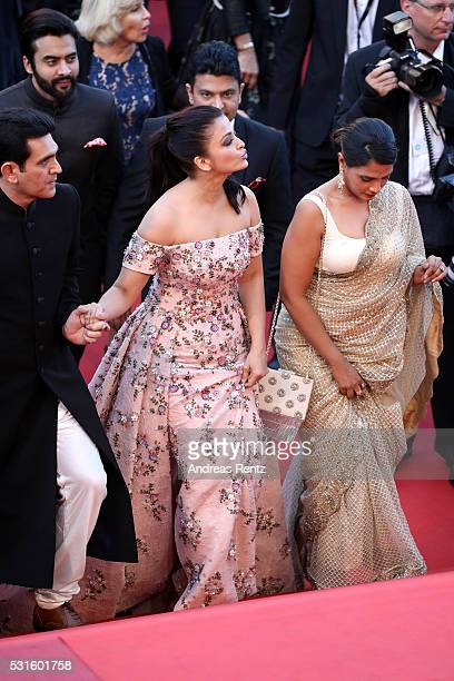 Actors Darshan Kumaar Aishwarya Rai and Bhushan Kumar attend the 'From The Land Of The Moon ' premiere during the 69th annual Cannes Film Festival at...