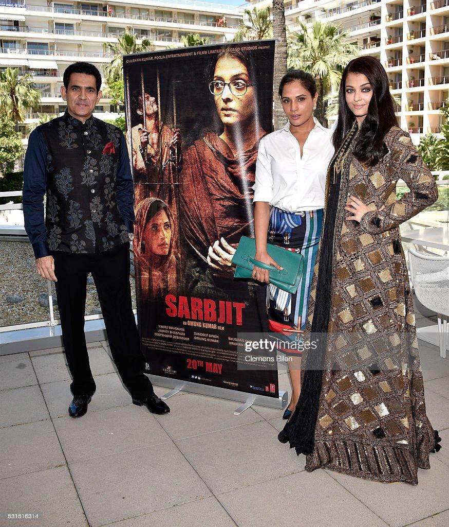 Actors Darshan Kumaar Aishwarya Rai and Richa Chadha attend 'Sarbjit' Photocall during The 69th Annual Cannes Film Festival at the Palais des.