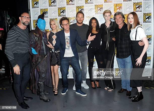 Actors Dave Bautista Michael Rooker and Pom Klementieff writer/director James Gunn actors Chris Pratt Zoe Saldana Elizabeth Debicki Kurt Russell and...