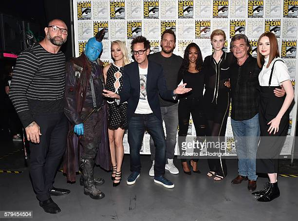 Actors Dave Bautista Yondu Pom Klementieff Director James Gunn actors Chris Pratt Zoe Saldana Elizabeth Debicki Kurt Russell and Karen Gillan from...