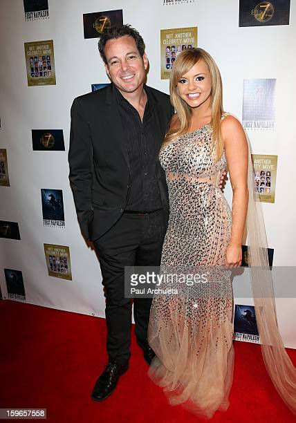 Actors Dave Burleigh and Bree Olson attend the premiere for Not Another Celebrity Movie at Pacific Design Center on January 17 2013 in West Hollywood...