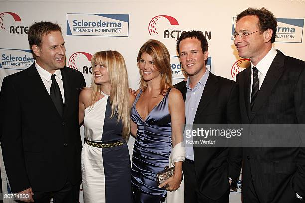 Actors Dave Coulier, Candace Cameron Bure, Lori Loughlin, Scott Weinger and Bob Saget pose at Cool Comedy - Hot Cuisine benefiting the Scleroderma...