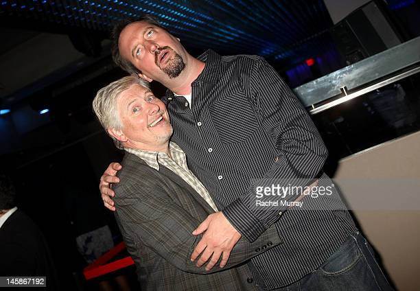 Actors Dave Foley and Tom Green attend the VIP red carpet cocktail party hosted by WIKIPAD and NVIDIA as part of the celebrations for E3 2012 held at...