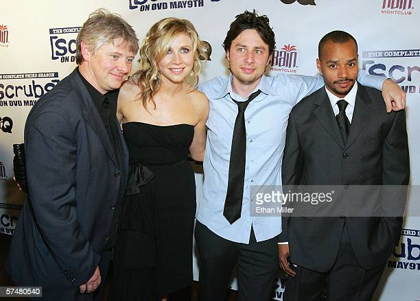 Actors Dave Foley Sarah Chalke Zach Braff and Donald Faison arrive at a third season DVD launch event and season five wrap party for the television...