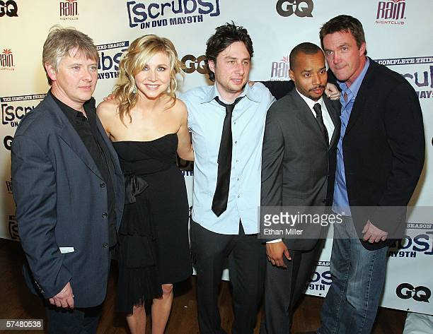 Actors Dave Foley Sarah Chalke Zach Braff Donald Faison and Neil Flynn arrive at a third season DVD launch event and season five wrap party for the...
