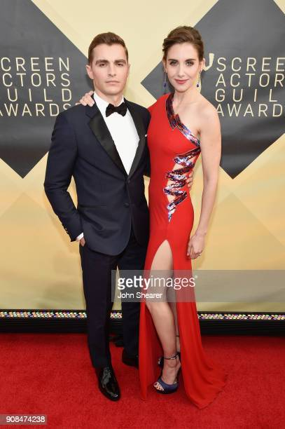 Actors Dave Franco and Alison Brie attend the 24th Annual Screen Actors Guild Awards at The Shrine Auditorium on January 21, 2018 in Los Angeles,...