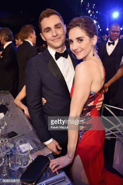 Actors Dave Franco and Alison Brie pose during the 24th Annual Screen Actors Guild Awards at The Shrine Auditorium on January 21, 2018 in Los...