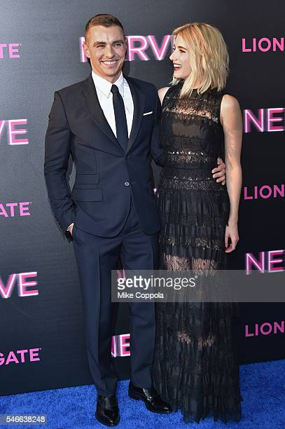 Actors Dave Franco and Emma Roberts attend the 'Nerve' New York Premiere at SVA Theater on July 12 2016 in New York City