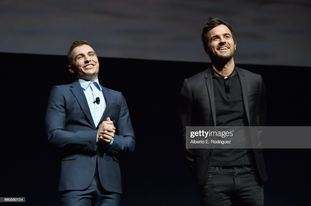 "Actors Dave Franco (L) and Justin Theroux speak onstage during CinemaCon 2017 Warner Bros. Pictures Invites You to ""The Big Picture"", an Exclusive Presentation of our Upcoming Slate at The Colosseum at Caesars Palace during CinemaCon, the official convention of the National Association of Theatre Owners, on March 29, 2017 in Las Vegas, Nevada."