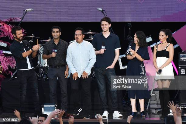 Actors Dave Franco Justin Theroux Kumail Nanjiani Michael Pena Zach Woods Abbi Jacobson and Olivia Munn speak onstage during MTV Fandom Fest at PETCO...