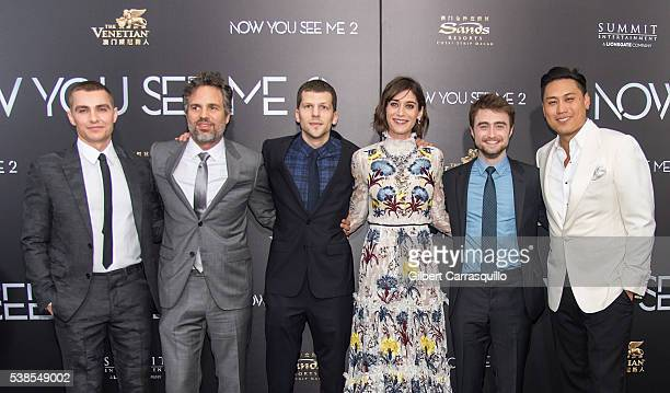 Actors Dave Franco Mark Ruffalo Jesse Eisenberg Lizzy Caplan Daniel Radcliffe and Directer Jon Chu attend 'Now You See Me 2' World Premiere at AMC...