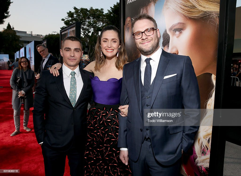 Actors Dave Franco, Rose Byrne and writer/producer/actor Seth Rogen attend the premiere of Universal Pictures' 'Neighbors 2: Sorority Rising' at the Regency Village Theatre on May 16, 2016 in Westwood, California.