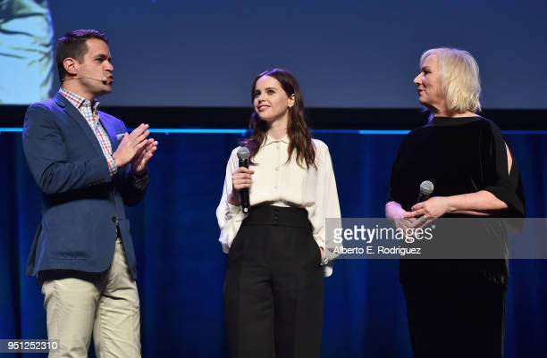Actors Dave Karger Felicity Jones and director Mimi Leder speak onstage during the CinemaCon 2018 Focus Features Presentation at Caesars Palace...